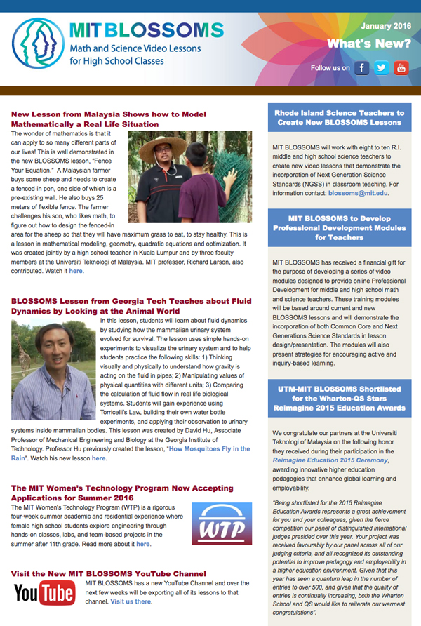 January 2016 newsletter screenshot
