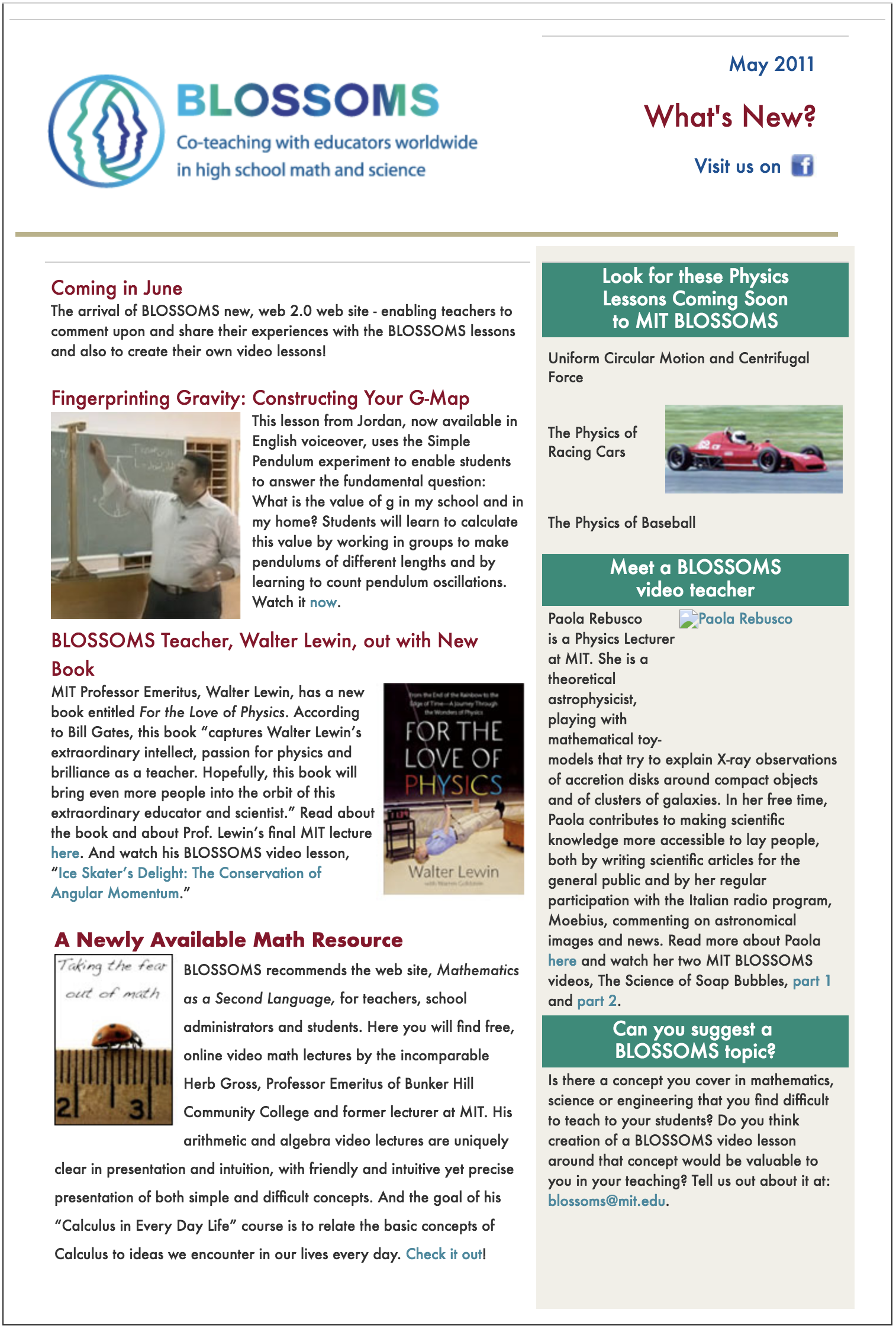 May 2011 BLOSSOMS Newsletter