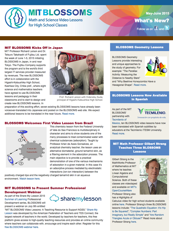 May-June 2015 newsletter screenshot