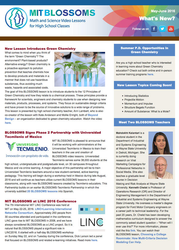 May-June 2016 newsletter screenshot