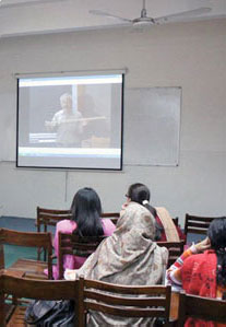 Students viewing video lesson