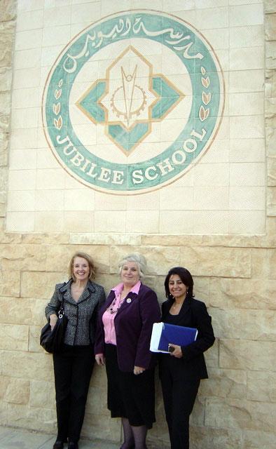Elizabeth Murray, Director Abla Zuraykat, and Rana Qubain during a visit to the Jubilee School in Amman, Jordan.