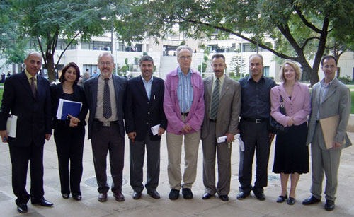 Richard Larson and Walter Lewin with members of the BLOSSOMS team at the Jordan Univ. of Science and Technology.