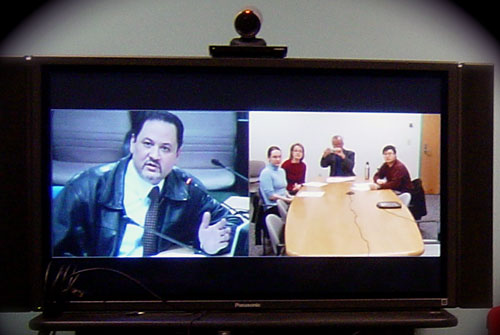 Professor Basem Jaber, a BLOSSOMS teacher from Jordan University, participates in a video meeting with MIT.