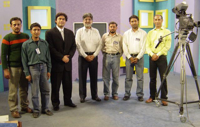 Pictured above is the video production team at the TV studio of the Pakistan Virtual University in Lahore.