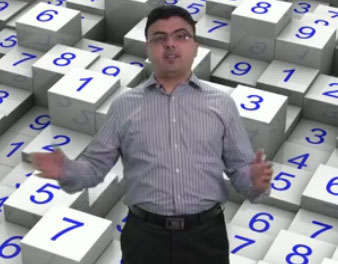 Teacher standing in front of number background